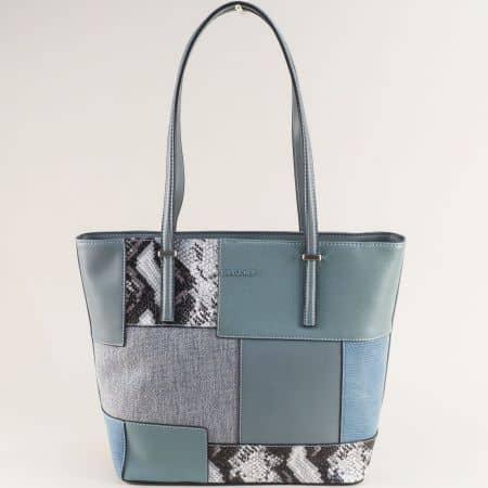 Дамска чанта в син цвят със змиски принт- DAVID JONES ch6279-2s