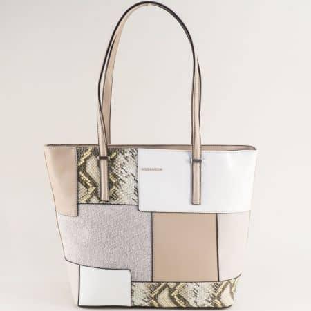 Сива дамска чанта със змиски принт- DAVID JONES ch6279-2sv