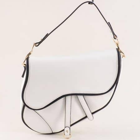 Бяла дамска чанта с твърда структура, къса и дълга дръжка ch6280b