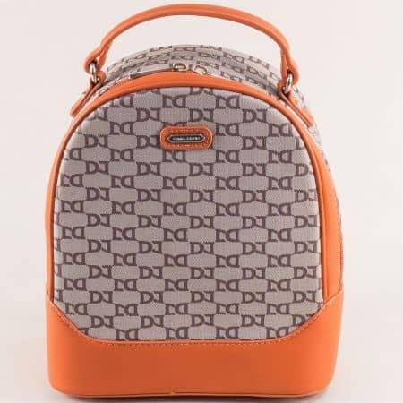 Оранжева дамска раница със стилен принт- DAVID JONES ch6289-2o