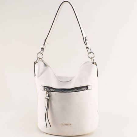 Бяла дамска чанта с къса и дълга дръжка- DAVID JONES ch6296-1b