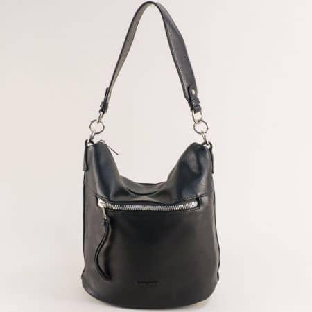 Дамска чанта в черно с къса и дълга дръжка- DAVID JONES ch6296-1ch