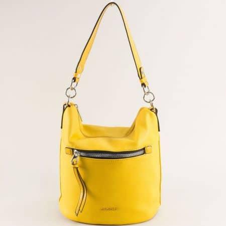 Дамска чанта в жълто с къса и дълга дръжка- DAVID JONES ch6296-1j