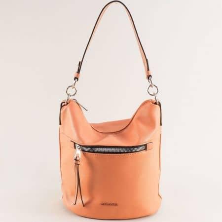 Оранжева дамска чанта с къса и дълга дръжка- DAVID JONES ch6296-1o