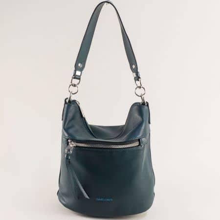 Дамска чанта в тъмно зелено с къса и дълга дръжка- DAVID JONES ch6296-1z
