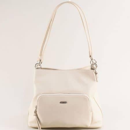 Дамска чанта в бежов цвят с три прегради- DAVID JONES ch6299-3bj