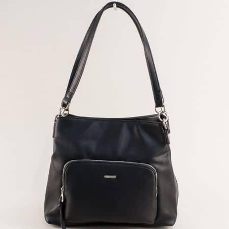 Дамска чанта с три прегради в черен цвят- DAVID JONES ch6299-3ch