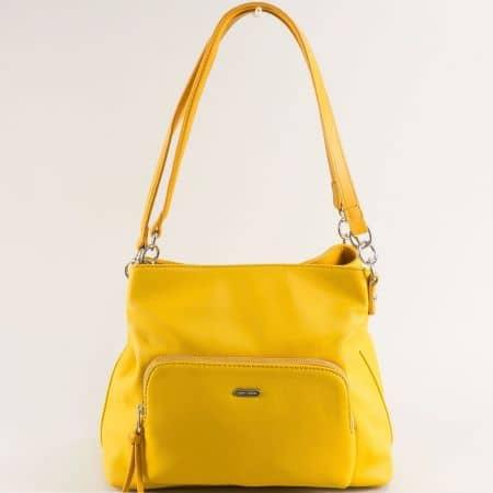 Дамска чанта с три прегради в жълто- DAVID JONES ch6299-3j