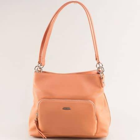 Оранжева дамска чанта с две фиксирани дръжки- DAVID JONES ch6299-3o