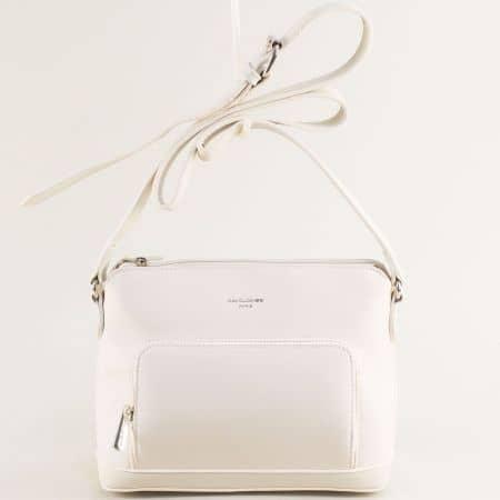 Дамска чанта в бяло с регулируема дръжка- DAVID JONES ch6307-1b
