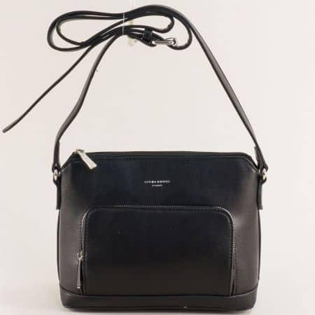 Черна дамска чанта с регулируема дръжка- DAVID JONES ch6307-1ch