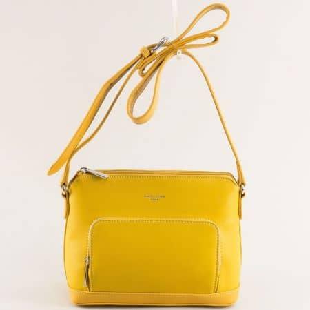 Дамска чанта в жълто с регулируема дръжка- DAVID JONES ch6307-1j