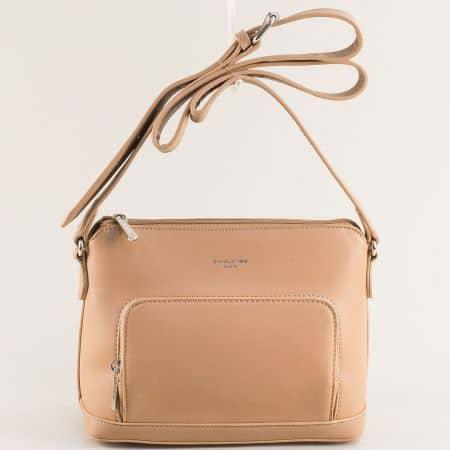 Дамска чанта в светло кафяво с регулируема дръжка- DAVID JONES ch6307-1k