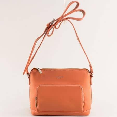 Оранжева дамска чанта с регулируема дръжка- DAVID JONES ch6307-1o