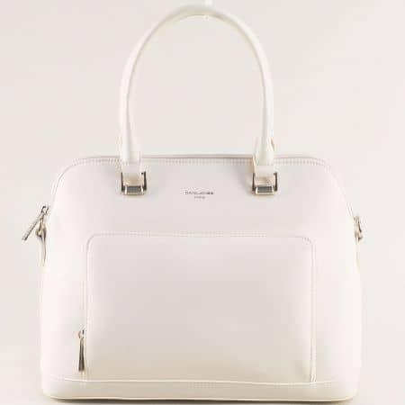 Дамска чанта в бяло с две къси и дълга дръжка- DAVID JONES ch6307-3b
