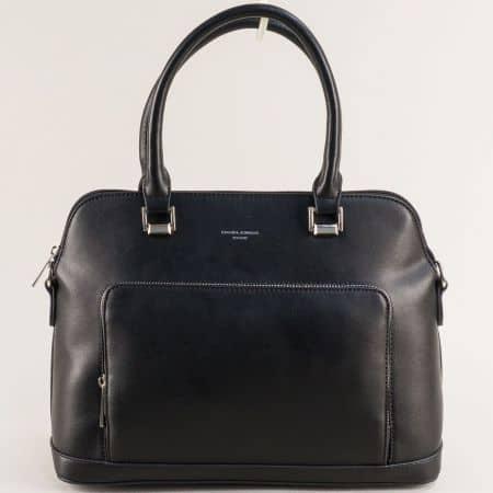 Дамска чанта в черно с две къси и дълга дръжка- DAVID JONES ch6307-3ch