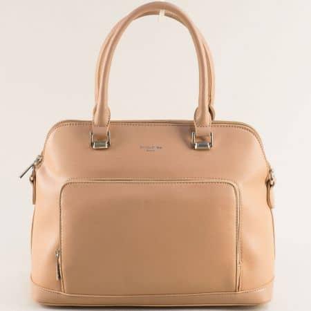 Дамска чанта в светло кафяо с две къси и дълга дръжка- DAVID JONES ch6307-3k