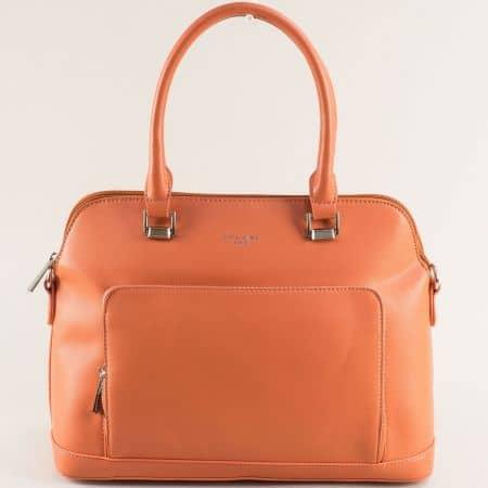 Дамска чанта в оранж с две къси и дълга дръжка- DAVID JONES ch6307-3o