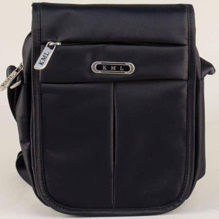 Черна мъжка чанта с прехлупване- KML ch6301ch