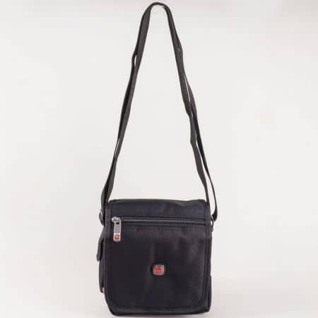 Мъжка ежедневна чанта с капак и дълга дръжка на български производител в черен цвят ch6526ch