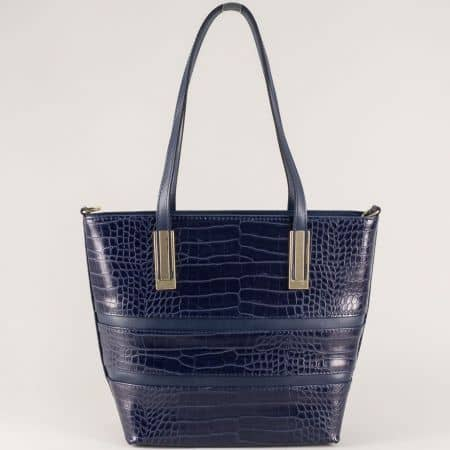 Синя дамска чанта със златисти орнаменти и кроко принт ch667s