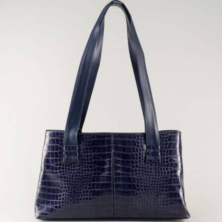 Българска дамска чанта в синьо от висококачествена еко кожа ch668s