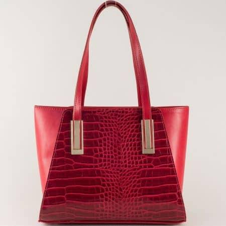 Червена дамска чанта на български производител с две къси и допълнителна дълга дръжка ch673krchv