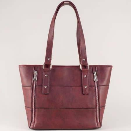 Модерна дамска чанта в цвят бордо с две прегради ch674bd
