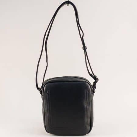Мъжка чанта в черен цвят- DAVID JONES с външен джоб ch688801ch