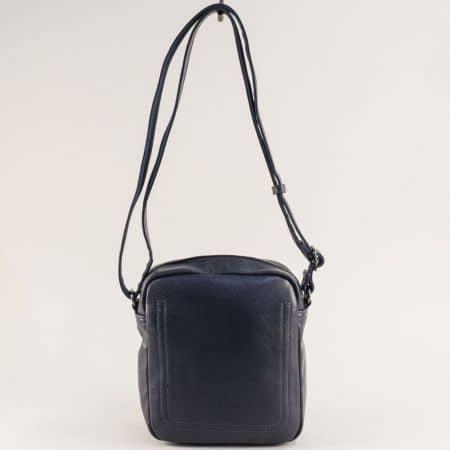 Синя мъжка чанта с външно и вътрешно джобче с цип ch688801s