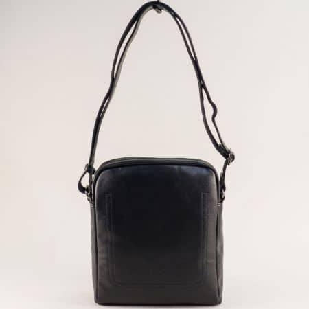 Черна мъжка чанта- DAVID JONES с външен джоб с цип ch688802ch