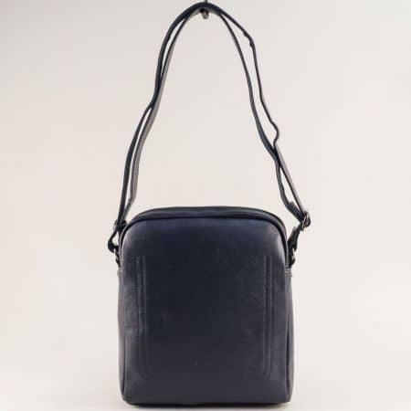 Синя мъжка чанта- DAVID JONES с външен джоб с цип ch688802s