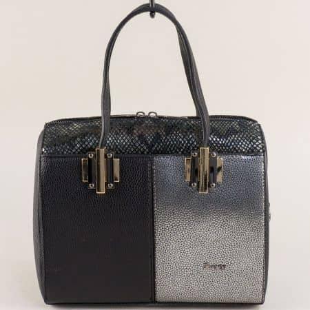 Дамска чанта в сребро и черно с частичен змийски принт ch688chsr