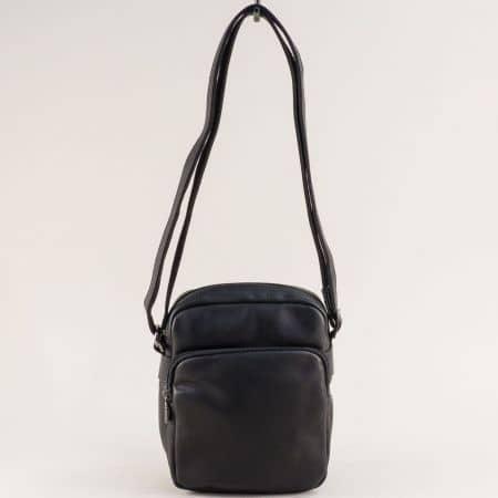 Мъжка чанта в черен цвят- DAVID JONES два външни джоба ch694402cch