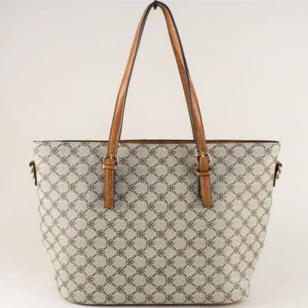 Дамска чанта с две прегради в кафяво и сиво ch703582z