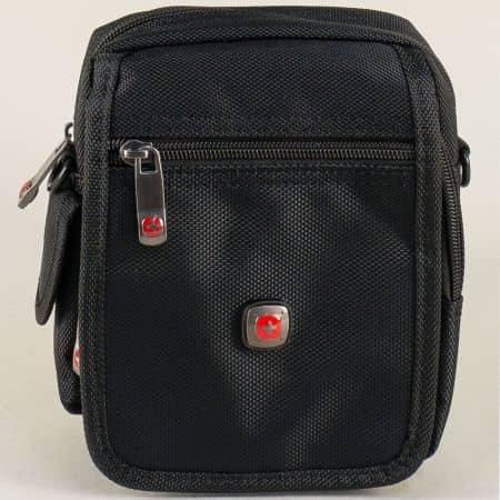 Мъжка чанта в черен цвят с прехлупване- KML ch7541ch