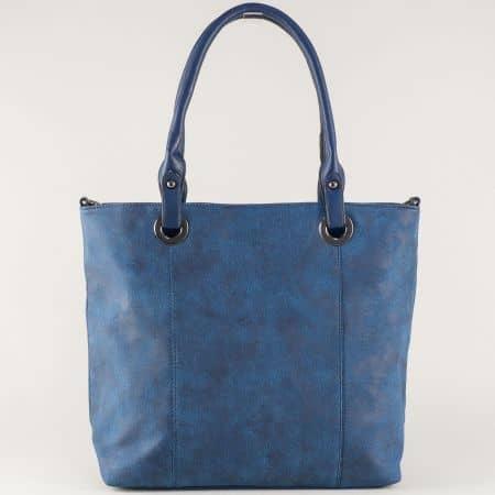 Синя дамска чанта с елеганта визия две къси и дълга регулируема дръжка ch8596s