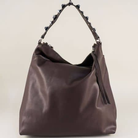 Тъмно кафява дамска чанта, тип торба с три прегради ch98352kk
