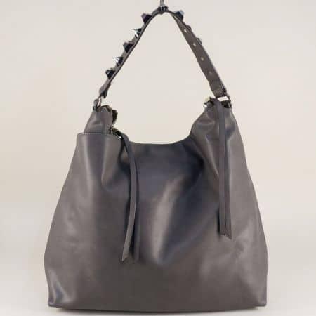 Сива дамска чанта, тип торба с три прегради ch98352sv