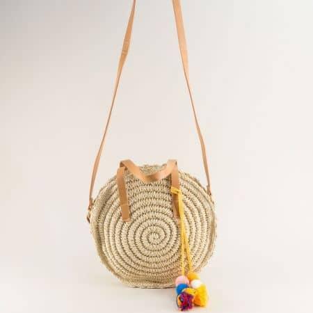 Кръгла дамска чанта- DAVID JONES в бежов цвят chyq20bj