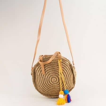 Кръгла дамска чанта в кафяво- DAVID JONES chyq20k