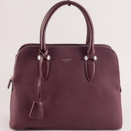 Дамска чанта в цвят бордо с две къси и дълга дръжка cm5349bd