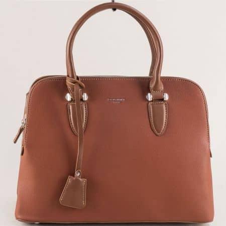 Кафява дамска чанта- DAVID JONES с три прегради cm5349k