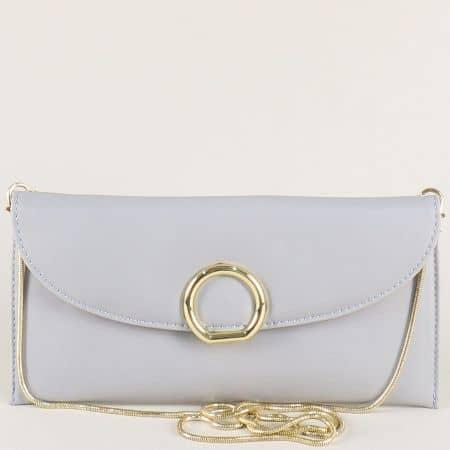 Малка дамска чанта в сив цвят със златиста дръжка cm3409sv
