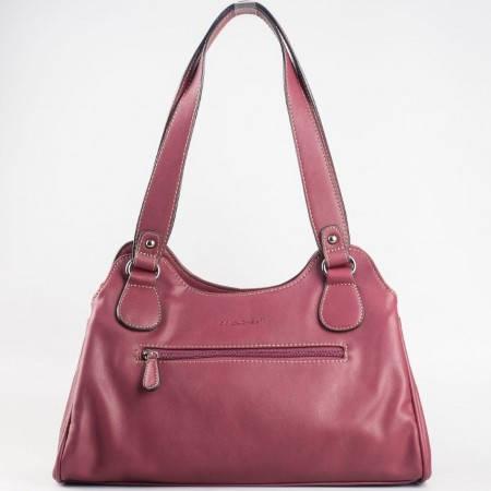Дамска практична чанта с три прегради с цип на френския производител David Jones в лилав цвят cm2744l
