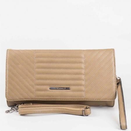 Дамска стилна чантичка с къса и дълга дръжка на известната френска марка David Jones в бежов цвят cm2798bj