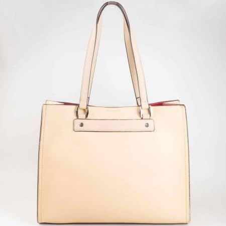 Красива дамска чанта с подвижен органайзер в бежов цвят на доказан френски производител cm3031bj