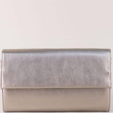 Сребриста дамска чанта с две прегради- DAVID JONES cm3342sr
