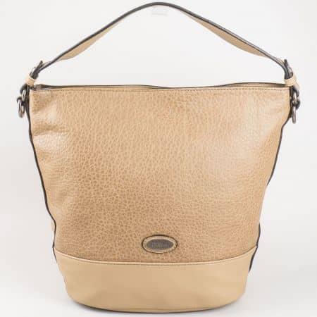 Дамска ежедневна чанта, тип торба с къса и дълга дръжка- David Jones в кафяво  cm3047k