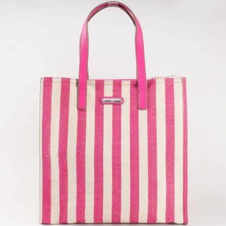 Фешън дамска чанта с две удобни фиксирани дръжки и принт вертикално райе в бежово и розово- френски производител cm3089rz